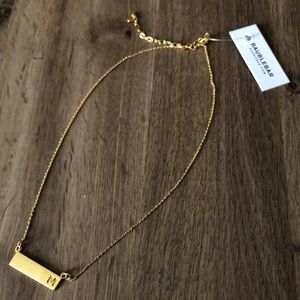 BaubleBar gold bar M initial dainty necklace
